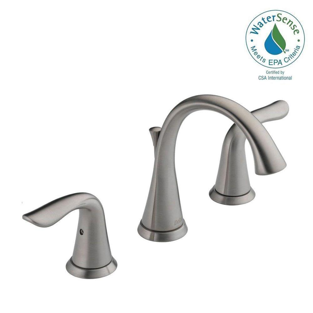 Delta lahara 8 in widespread 2 handle bathroom faucet with metal drain assembly in stainless for Delta widespread bathroom faucet
