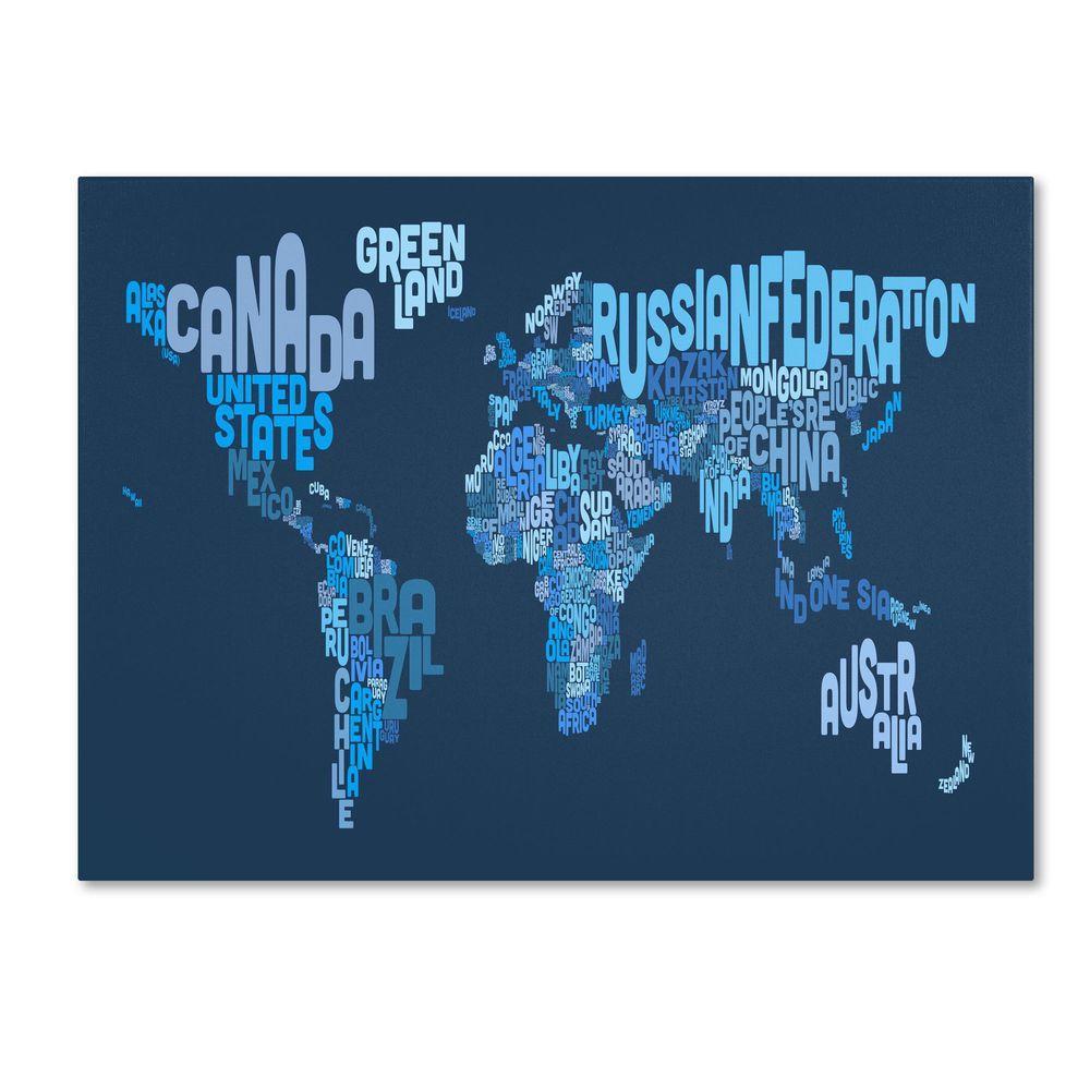 Trademark Fine Art 16 in. x 24 in. World Text Map 2 Canvas Art