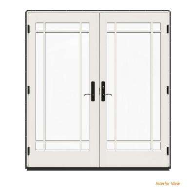 72 in. x 80 in. W-4500 Contemporary Bronze Clad Wood Left-Hand 9 Lite French Patio Door w/White Paint Interior