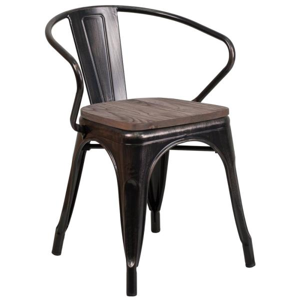 Carnegy Avenue Black-Antique Gold Side Chair CGA-CH-249933-BL-HD