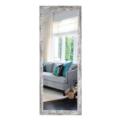 59.5 in. x 20.5 in. Weathered White Farmhouse Tall Mirror