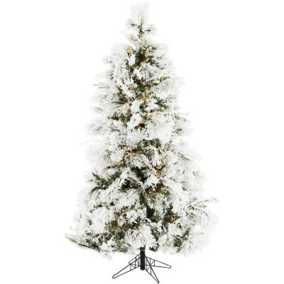6.5 ft. Frosted Fir Snowy Artificial Christmas Tree with Clear LED String Lighting