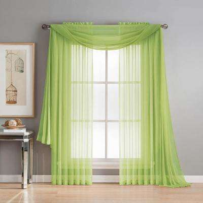 Diamond Sheer Voile 56 in. W x 216 in. L Curtain Scarf in Lime