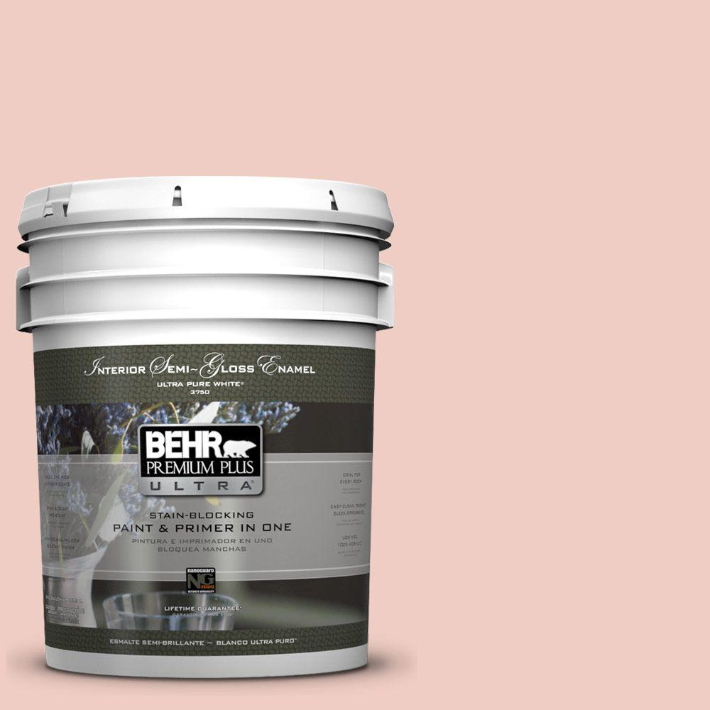 BEHR Premium Plus Ultra 5 gal. #200E-2 Salmon Tint Semi-Gloss Enamel Interior Paint and Primer in One