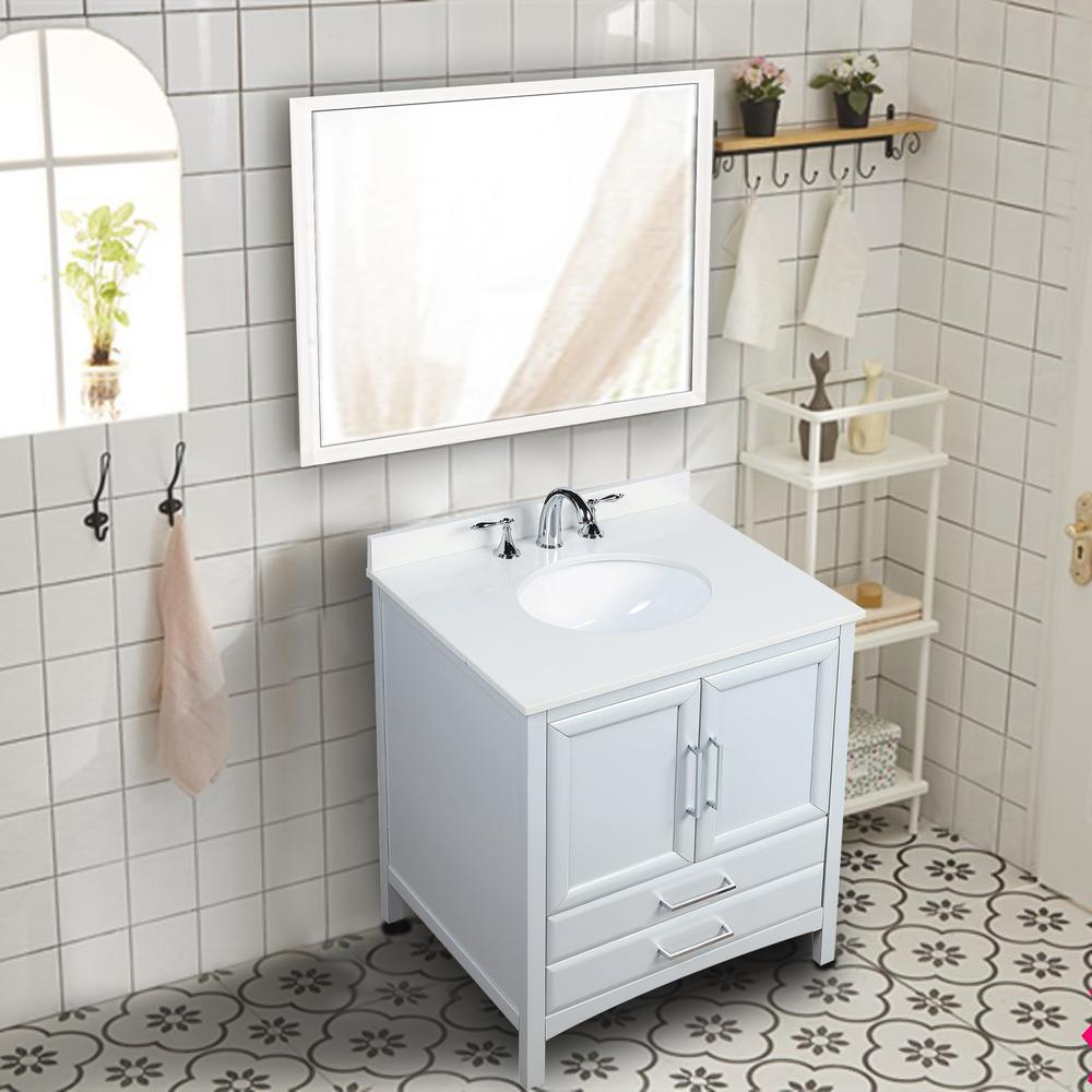 Vanity Art Rochefort 30 in. W x 22 in. D x 35 in. H Bath Vanity in Grey with Vanity Top in White Cultured Marble with White Basin was $641.0 now $448.7 (30.0% off)