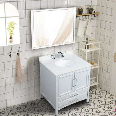 Rochefort 30 in. W x 22 in. D x 35 in. H Bath Vanity in Grey with Vanity Top in White Cultured Marble with White Basin