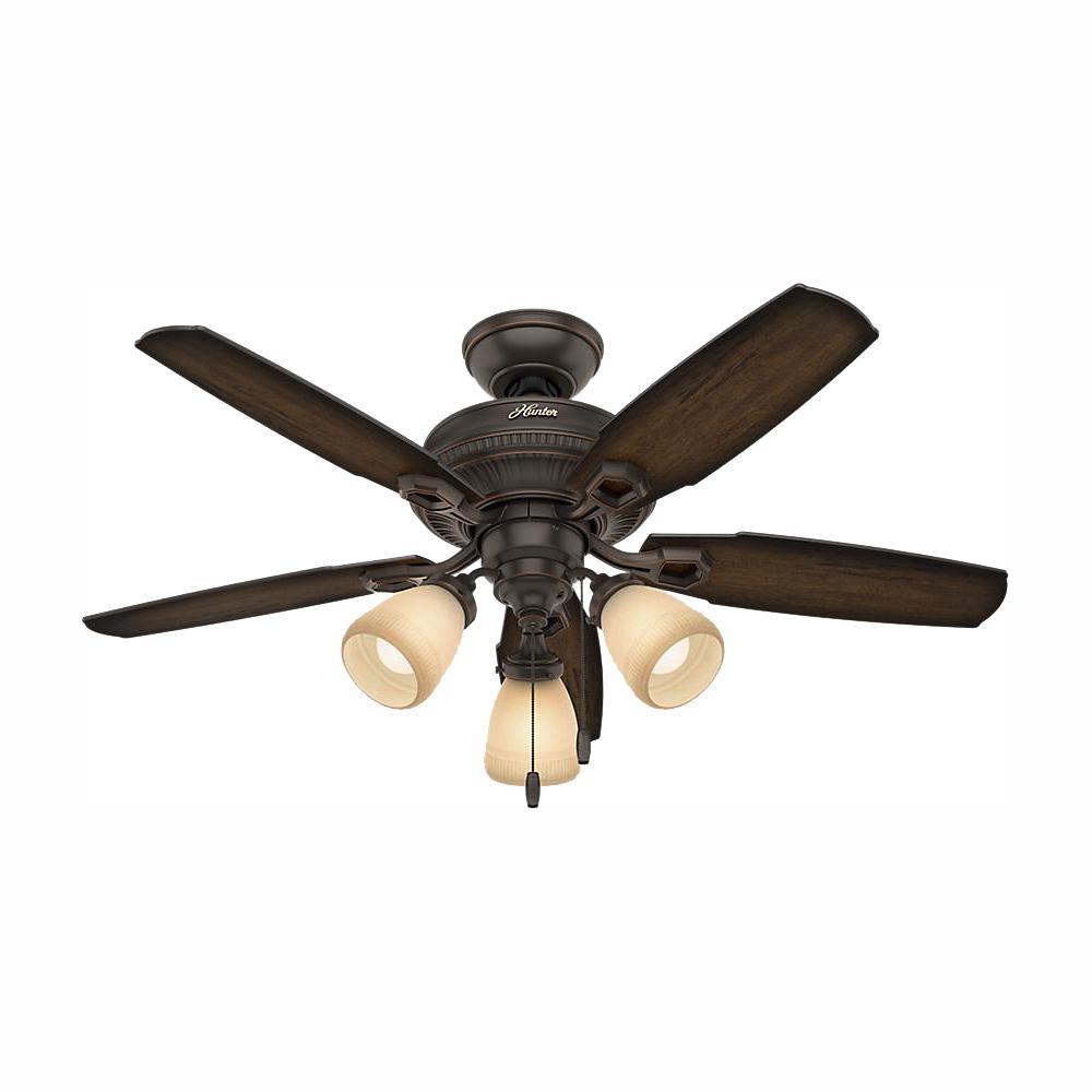 Ambrose 44 in. Indoor Onyx Bengal Bronze Three Light Ceiling Fan