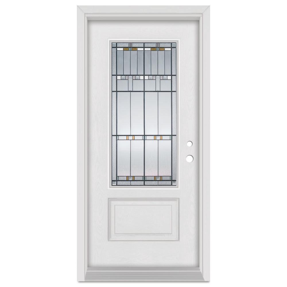 37.375 in. x 83 in. Architect Left-Hand Patina Finished Fiberglass Mahogany Woodgrain Prehung Front Door Brickmould