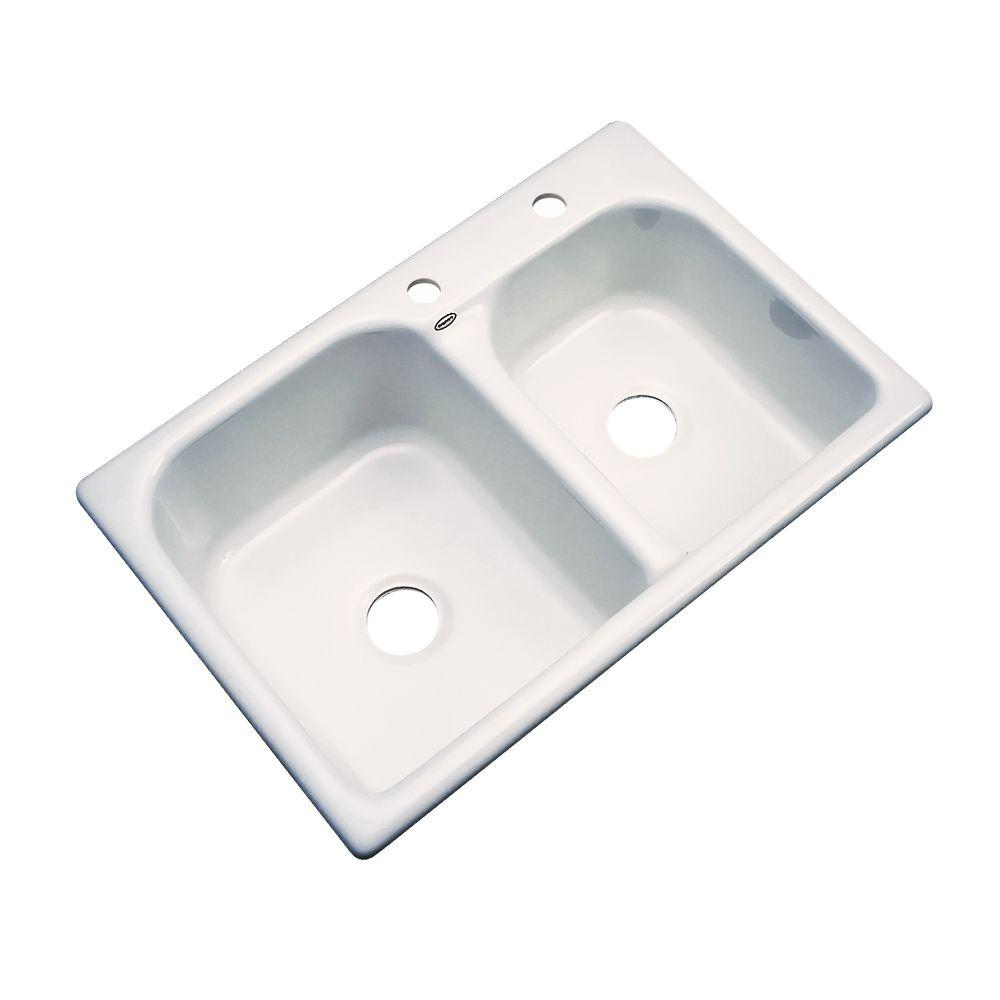 Thermocast Cambridge Drop-In Acrylic 33 in. 2-Hole Double Basin Kitchen Sink in Almond