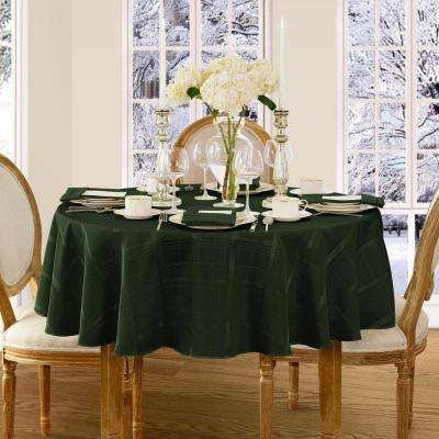 90 in. Round Holly Green Elrene Elegance Plaid Damask Fabric Tablecloth
