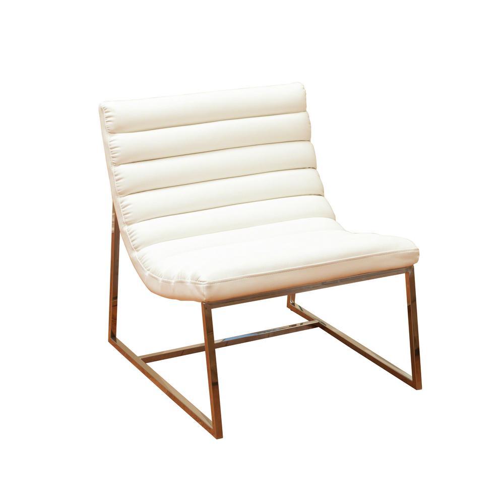 Parisian White Leather Sofa Chair