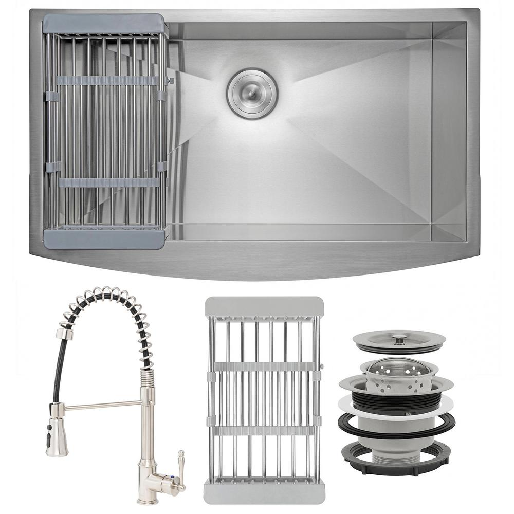 AKDY Handmade All-in-One Apron Stainless Steel 20 in. x 33 in. Single Bowl Kitchen Sink with Spring Neck Faucet, Drying Rack, Brushed Stainless Steel was $610.0 now $389.99 (36.0% off)