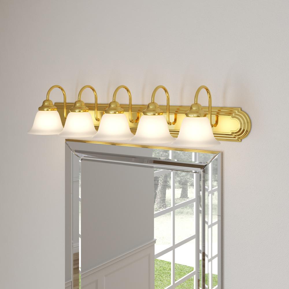 Glomar Sophrosyne 5 Light Polished Brass Bath Vanity Light With Alabaster Glass Hd 331 The Home Depot