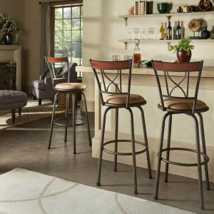 24-29 in. H Adjustable Bronze Curve X-Back With Brown Wood Trim 3-Piece Pack Stools