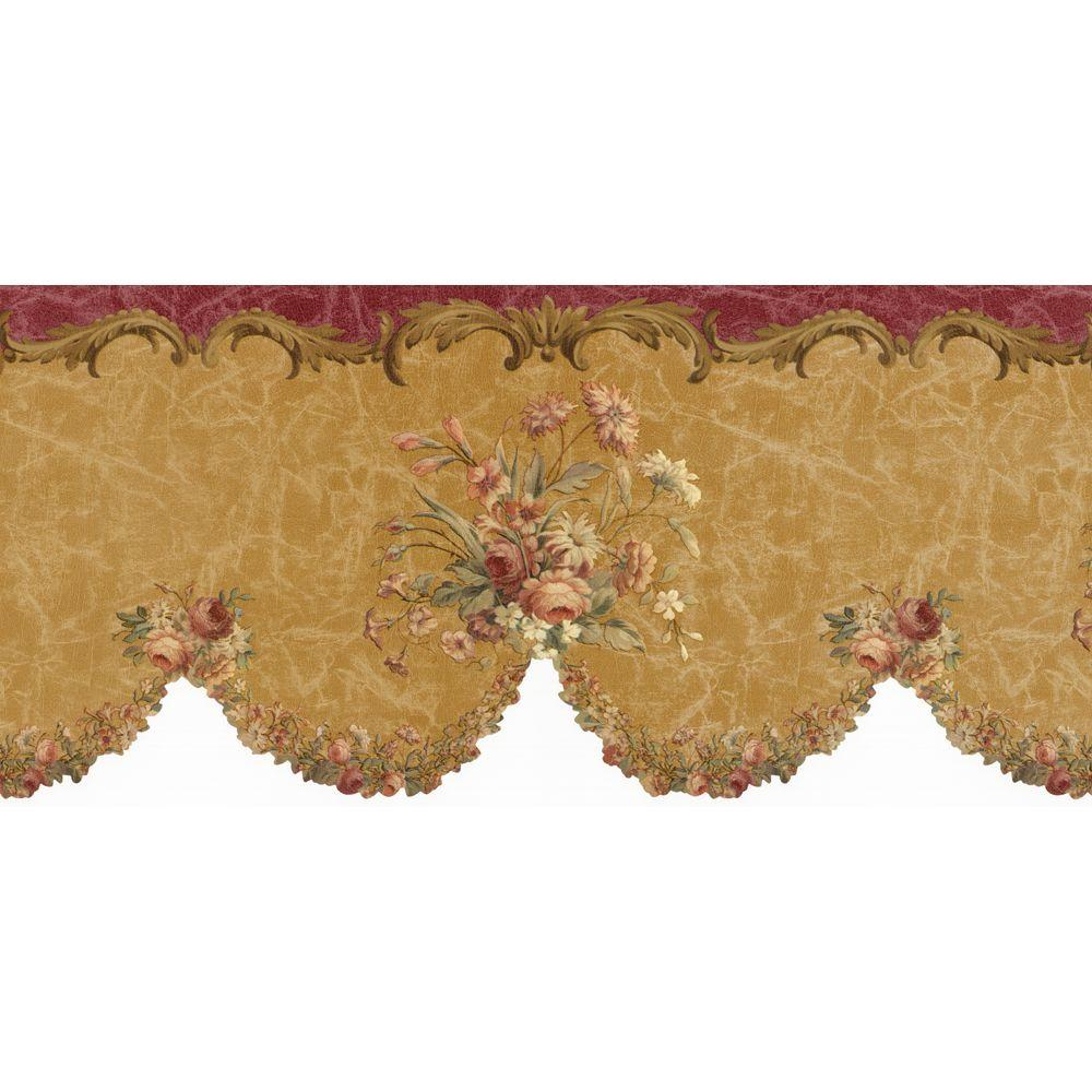 The Wallpaper Company 11 in. x 15 ft. Red and Brown Lyon Border