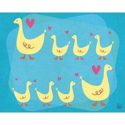 "16 in. x 20 in. ""Duck Family"" Wrapped Canvas Wall Art Print"