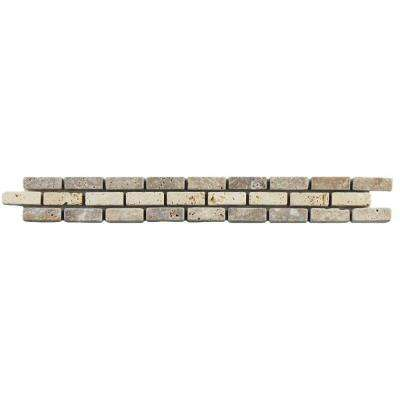 Tivolia Brick Noce Chiaro 1-1/4 in. x 12 in. x 10 mm Travertine Mosaic Trim Tile