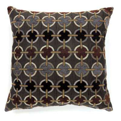 Targe 22 in. Contemporary Throw Pillow in Brown (Pack of 2)