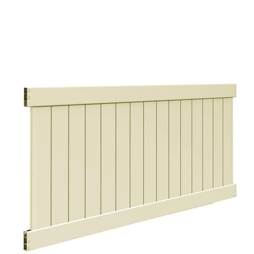 Bryce 4 ft. H x 8 ft. W Sand Vinyl Un-Assembled Fence Panel