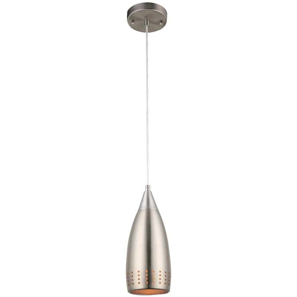 Westinghouse 1-Light Brushed Nickel Adjustable Mini Pendant with Perforated Metal Shade