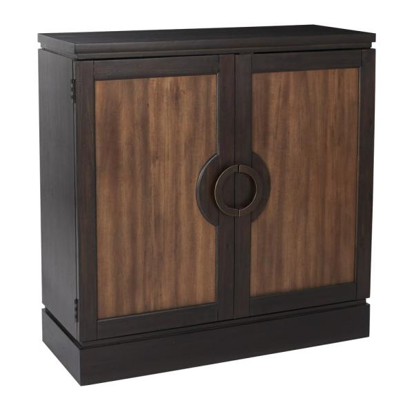 OSP Home Furnishings ASM Almeria Black and Brown Storage Console BP-ALMCSL-BBR