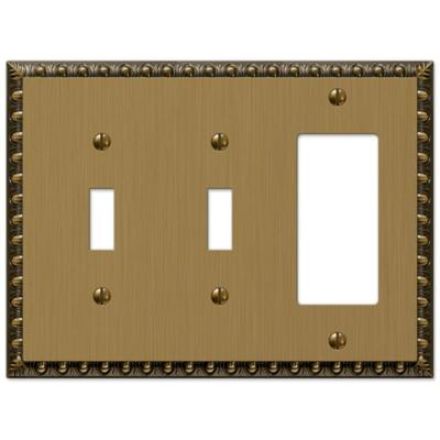 Antiquity 3 Gang 2-Toggle and 1-Rocker Metal Wall Plate - Brushed Brass