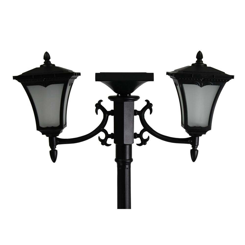 Sunray Vittoria 2 Light Outdoor Black Integrated Led Solar Lamp Post