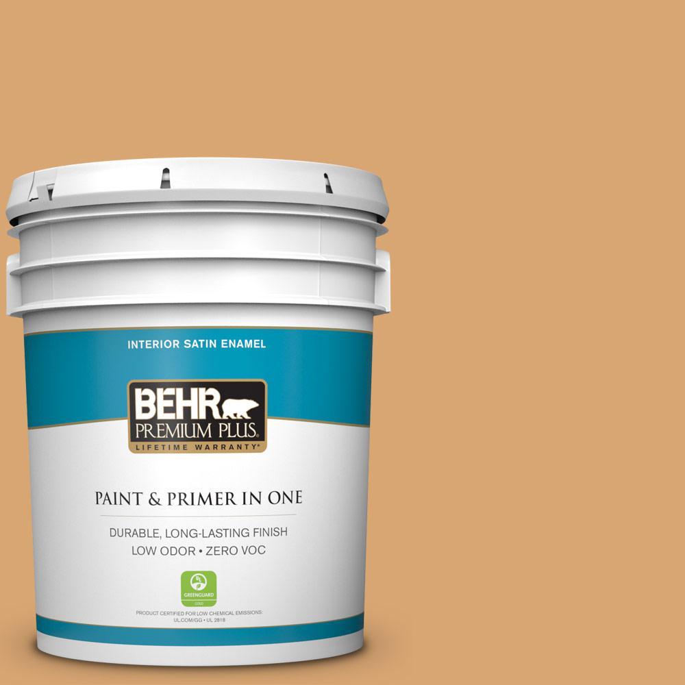 BEHR Premium Plus 5-gal. #M250-4 Cake Spice Satin Enamel Interior Paint, Yellows/Golds