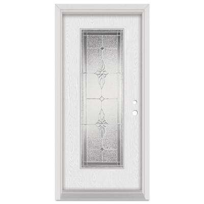 33.375 in. x 83 in. Victoria Left-Hand Full Lite Zinc Finished Fiberglass Oak Woodgrain Prehung Front Door Brickmould