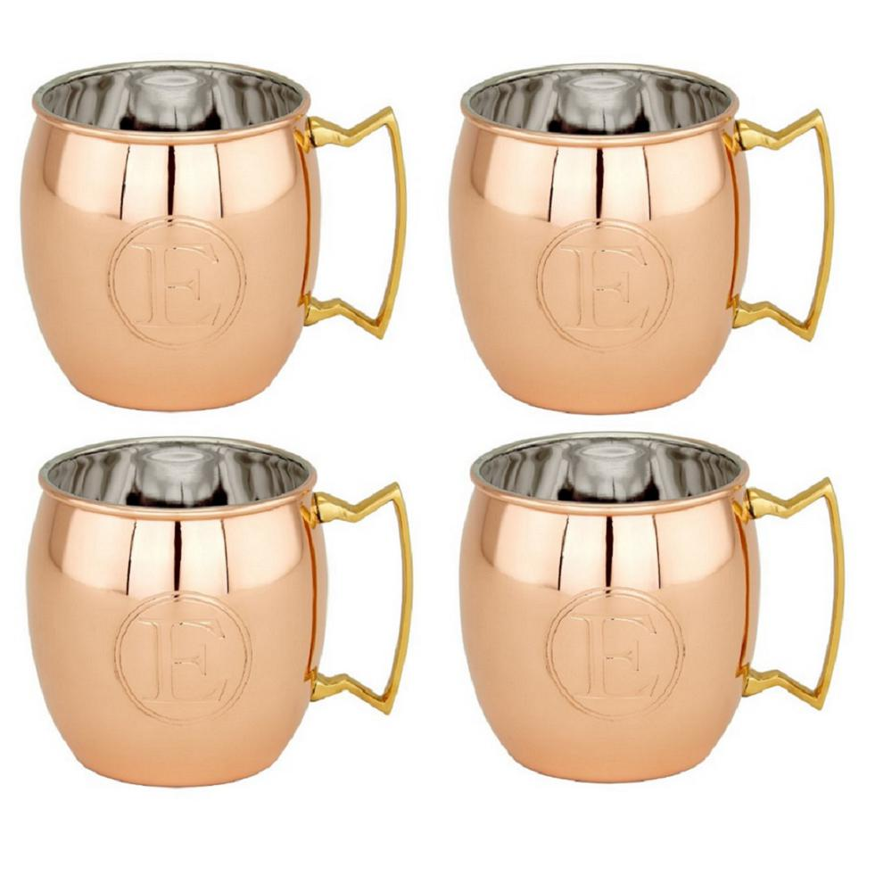 16 oz. Solid Copper Moscow Mule Mugs, Monogram E (Set of
