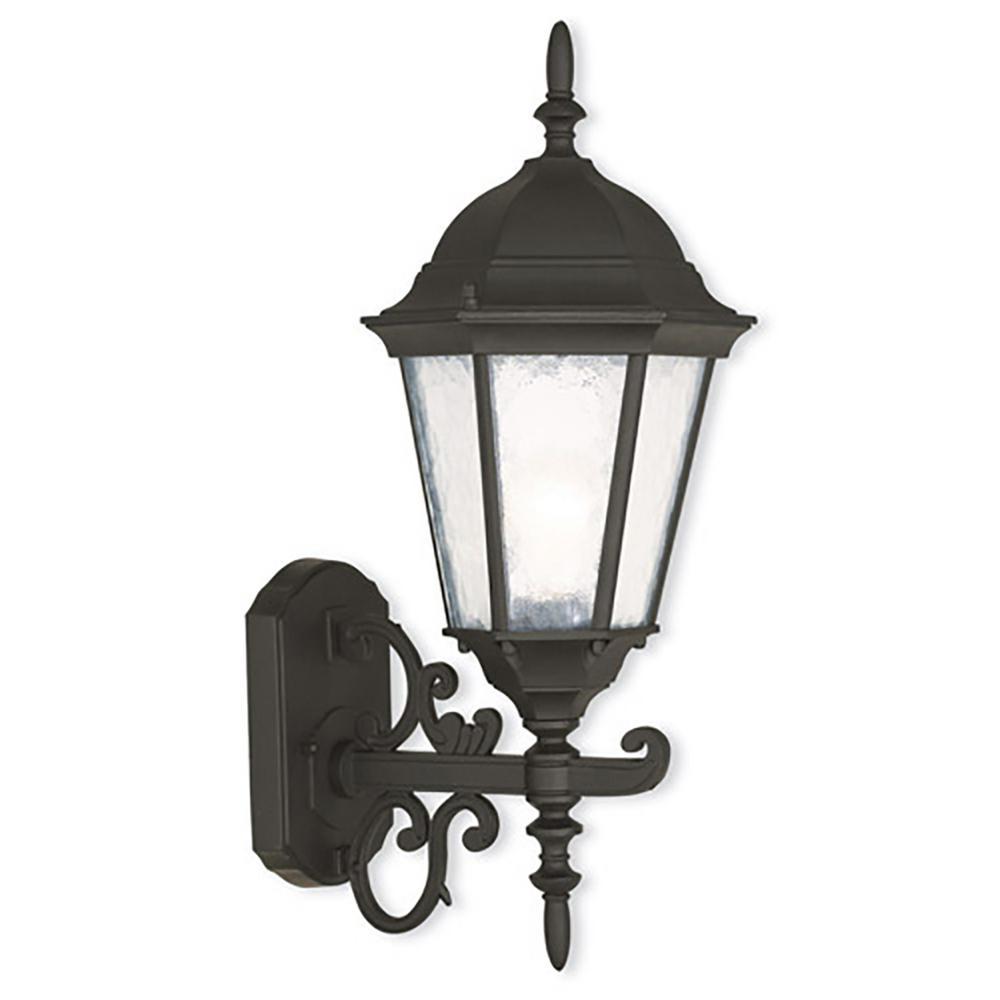 Hamilton 1-Light Textured Black Outdoor Wall Lantern Sconce