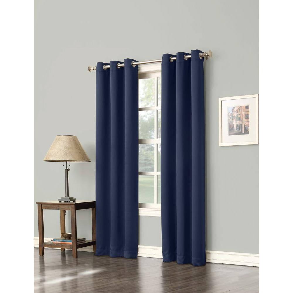 Sun Zero Blackout Gavin 63 In L Curtain Panel Navy