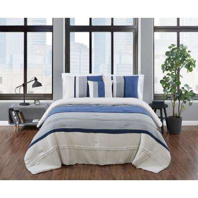 Newport Stripe 4-Piece Microsuede Blue and Grey Polyester Full/Queen Comforter Set