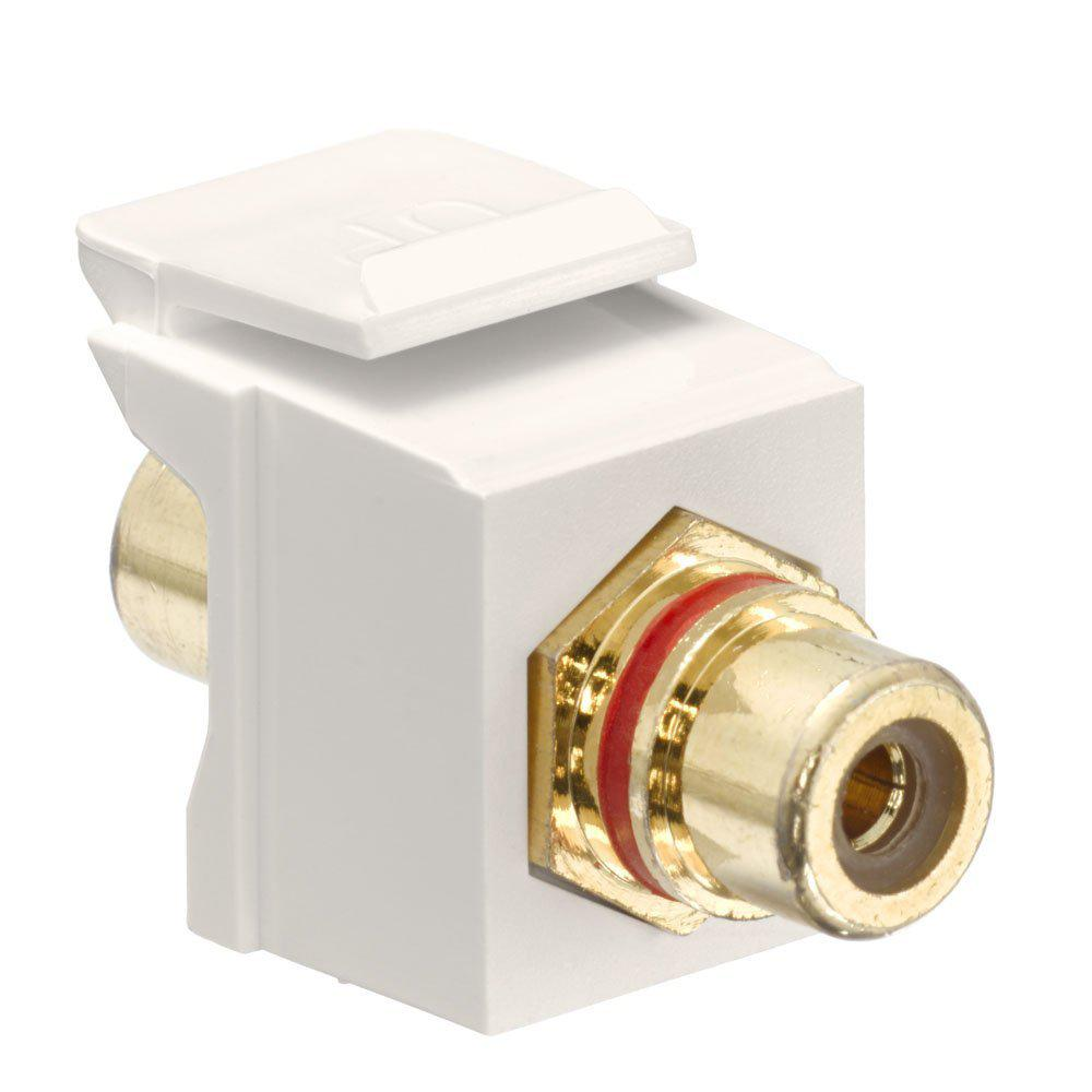 QuickPort RCA Gold-Plated Connector Red Stripe, Light Almond