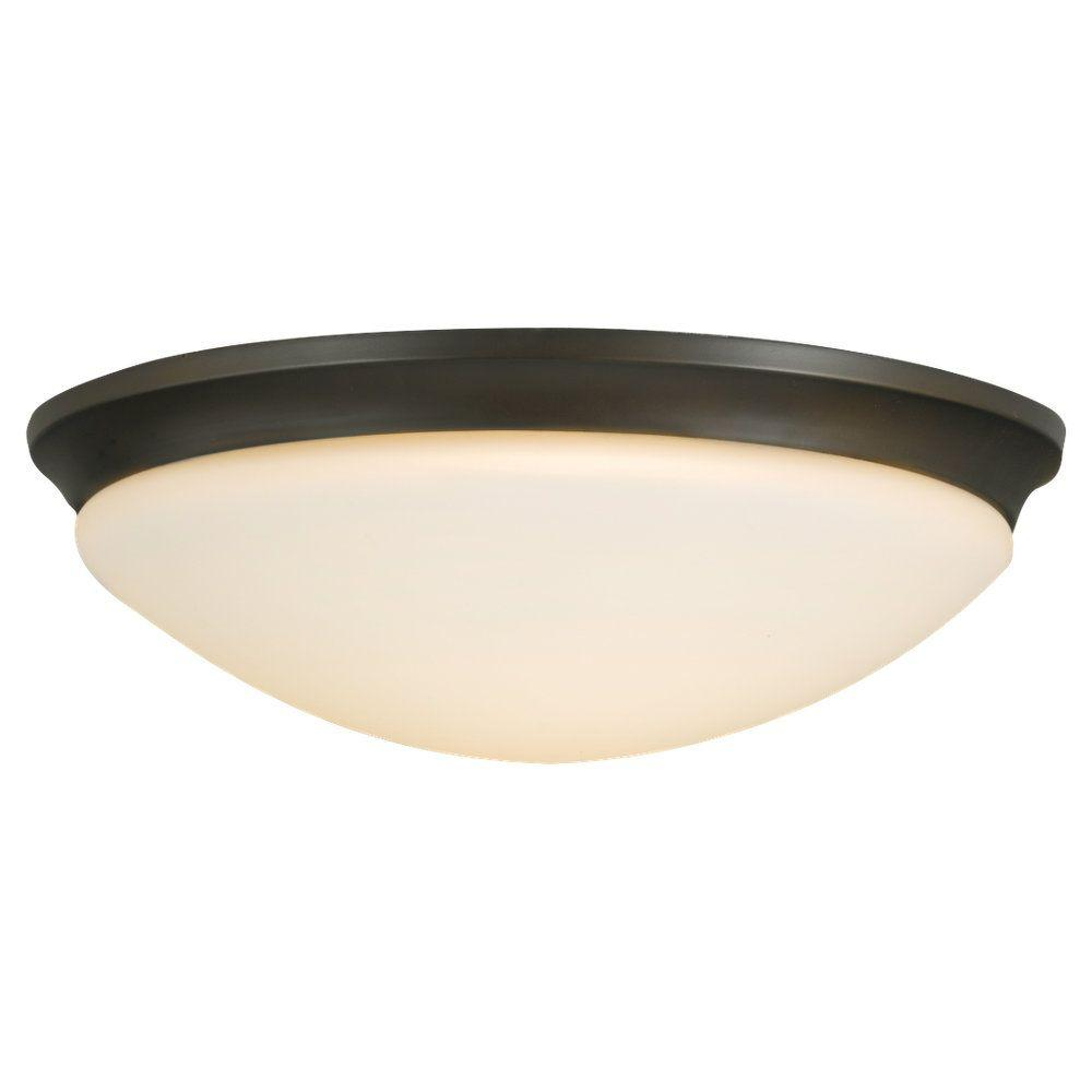 Sea Gull Lighting Barrington 16.5 in. W. 3-Light Oil Rubbed Bronze Flush Mount with Opal Etched Glass Shade