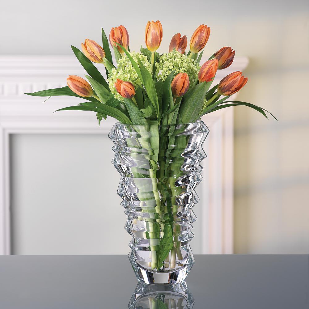 Slice 11 in. Crystal Decorative Vase in Clear