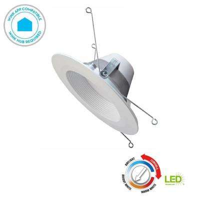 Wink Compatible 5 in. and 6 in. 65w Equivalent White LED Smart Recessed Trim with Color Tunable Feature (2700K to 5000K)