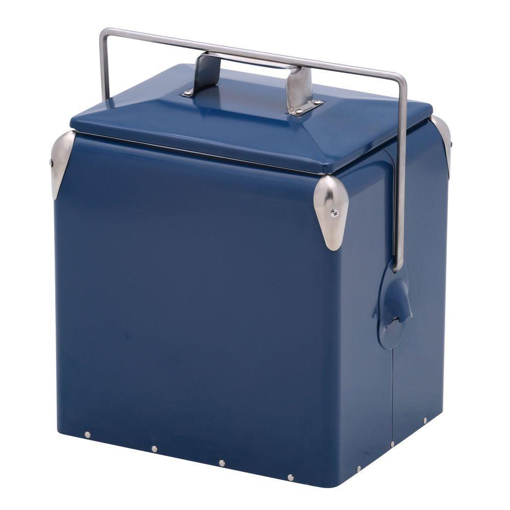 12 qt. Retro-Style Blue Picnic Cooler