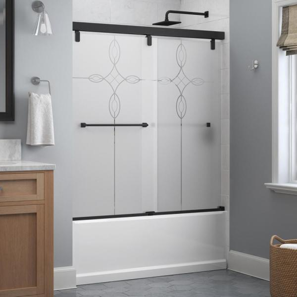Everly 60 in. x 59-1/4 in. Mod Semi-Frameless Sliding Bathtub Door in Matte Black and 1/4 in. (6mm) Tranquility Glass