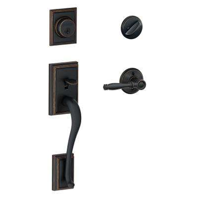 Addison Aged Bronze Single Cylinder Deadbolt with Birmingham Lever Door Handleset