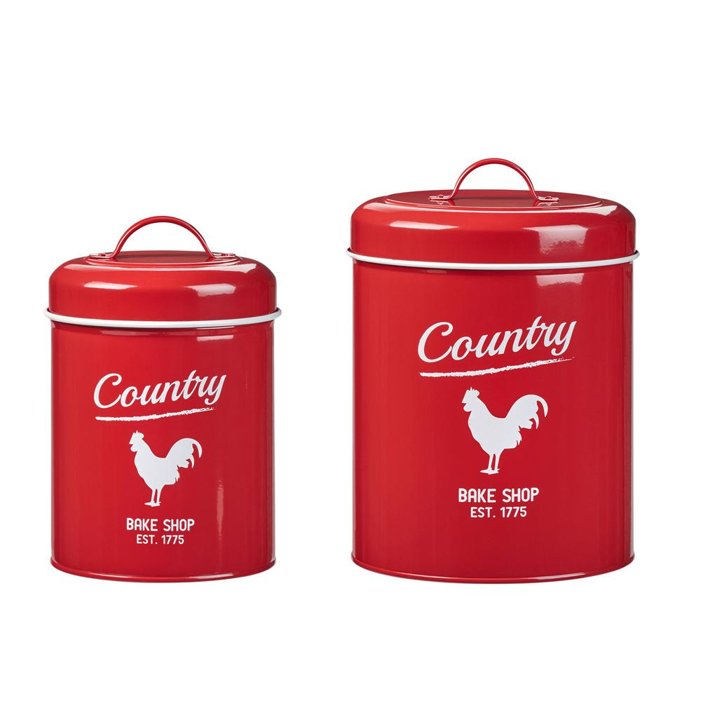 Country Rooster 2-Piece Metal Storage Canister Set with Powder Coat