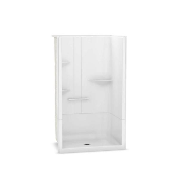 Maax Camelia 48 In X 34 In X 79 In Alcove Shower Stall With Center Drain Base In White 105919 000 001 003 The Home Depot