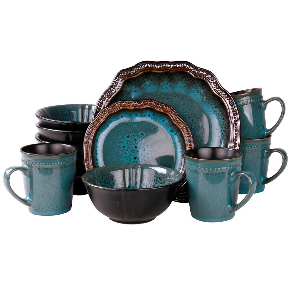 Mystic Waves 16-Piece Modern Blue Stoneware Dinnerware Set (Service for 4)