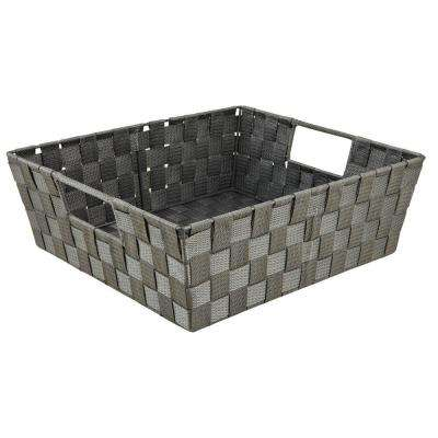 5 in. x 15 in. Woven Strap Shelf Tote Bin in Grey