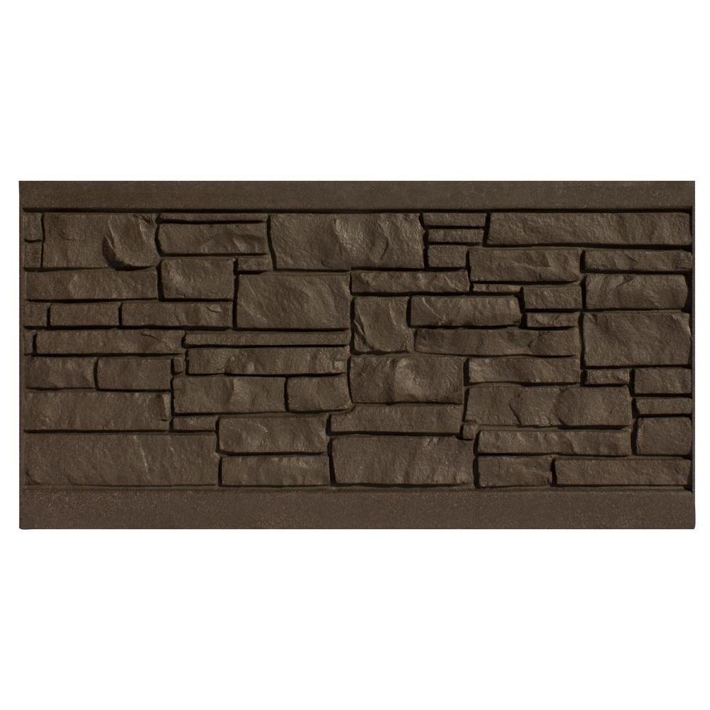 SimTek 3 ft. H x 6 ft. W EcoStone Dark Brown Composite Fence Panel