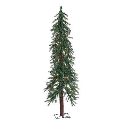 5 ft. Pre-Lit Alpine Artificial Christmas Tree with Clear Lights