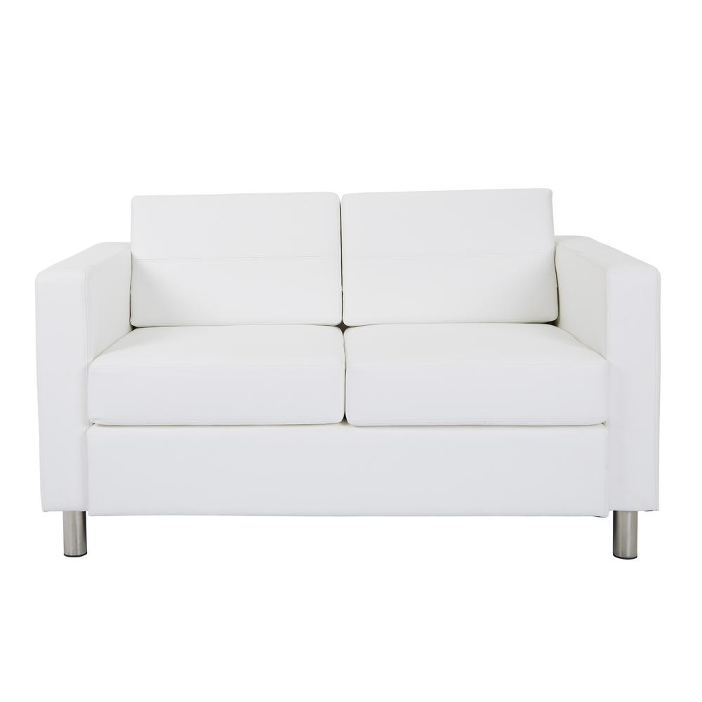 OSP Home Furnishings Atlantic Dillon Snow Fabric Loveseat with Dual Charging Station, Dillion White Polyurethane Fabric OSP Home Furnishings Atlantic Dillon Snow Fabric Loveseat with Dual Charging Station, Dillion White Polyurethane Fabric