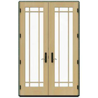 59.25 in. x 95.5 in. W-4500 Hartford Green Right Hand Inswing French Wood Patio Door