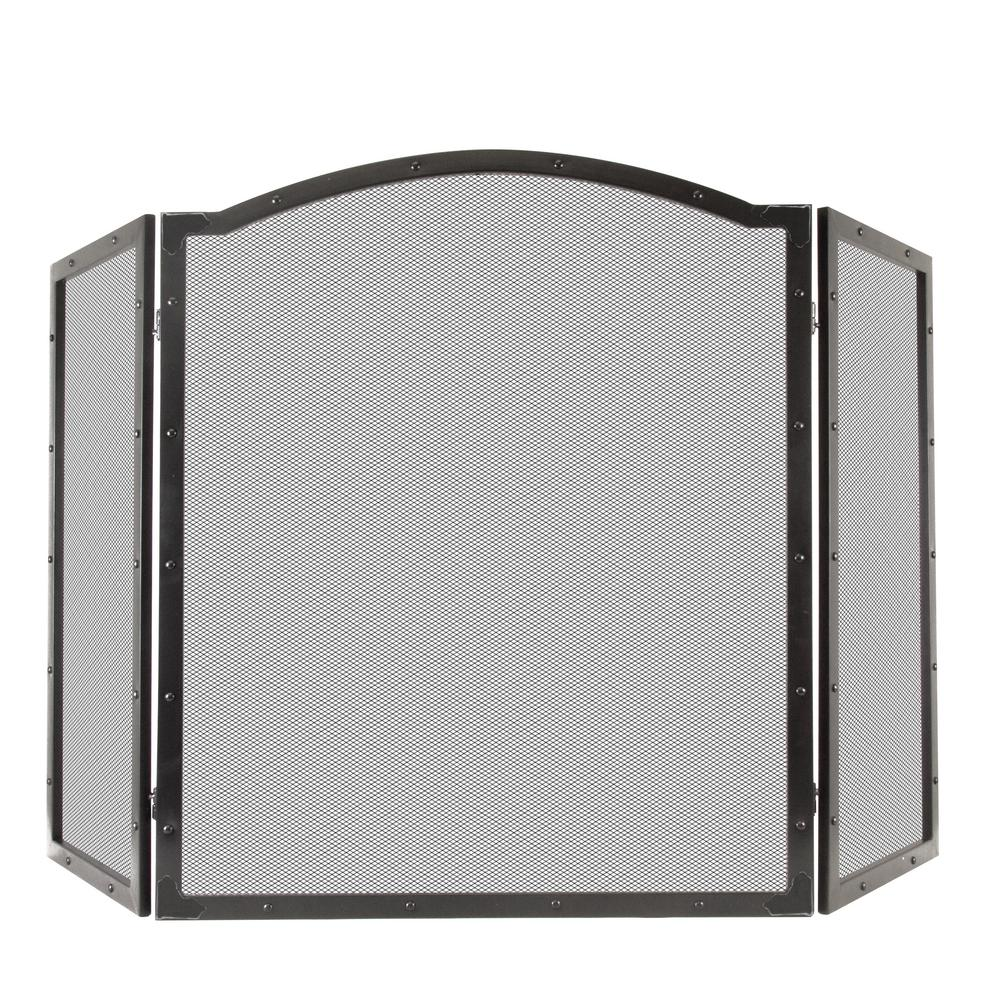 Fortna 3-Panel Fireplace Screen in Antique Black