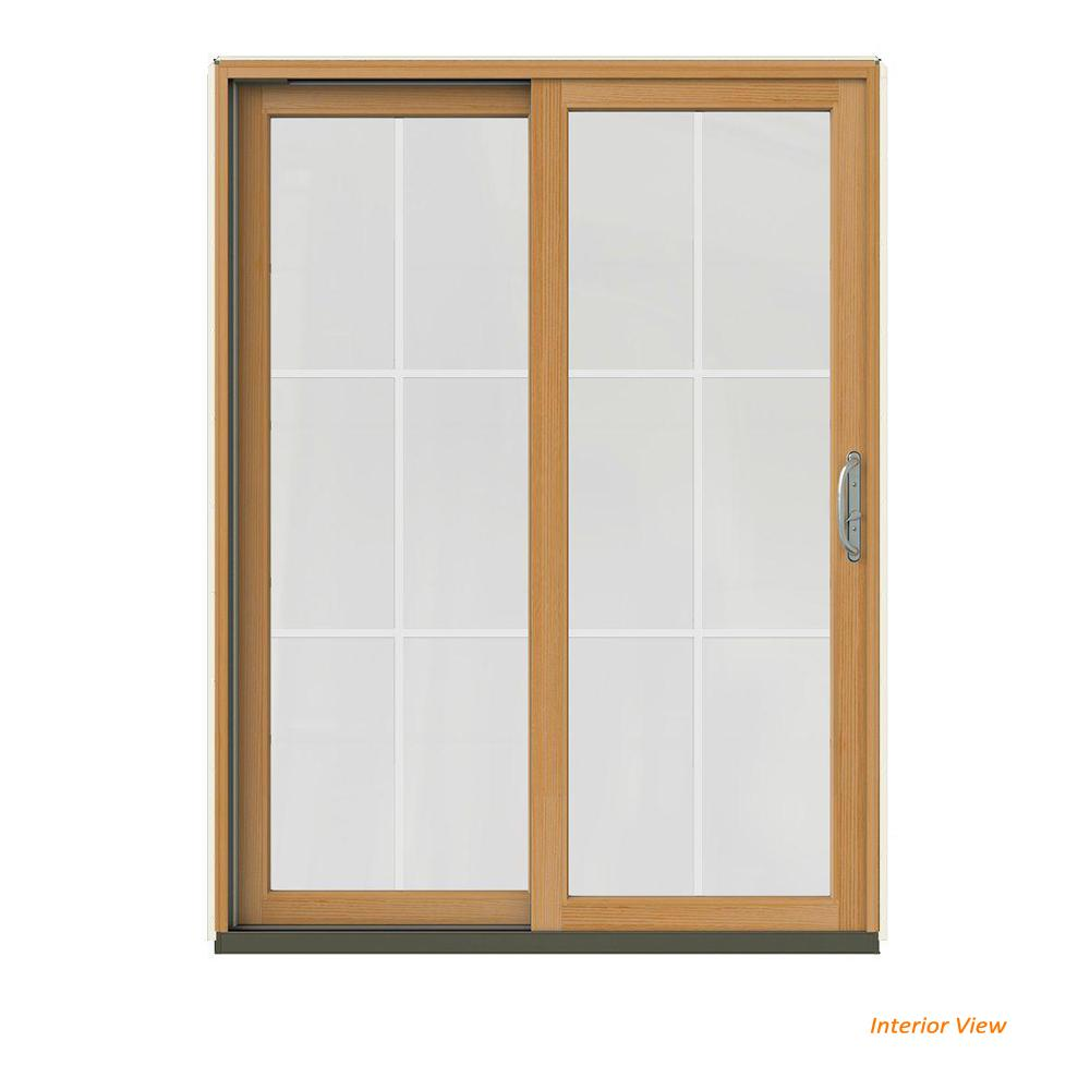 JELD-WEN 60 in. x 80 in. W-2500 Contemporary Vanilla Clad Wood Right-Hand 6 Lite Sliding Patio Door w/Stained Interior